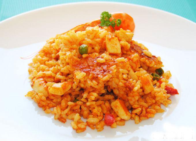 arroz con pescado y langostinos